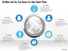1114 3d Globe And Six Text Boxes For Data Presentation Template