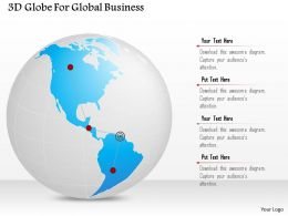 1114 3d Globe For Global Business Powerpoint Template