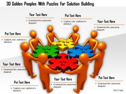 1114 3d Golden Peoples With Puzzles For Solution Building Ppt Graphics Icons