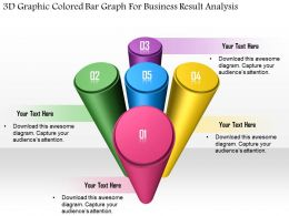 1114 3d Graphic Colored Bar Graph For Business Result Analysis Powerpoint Template