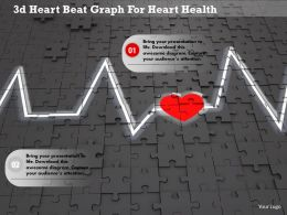 1114 3d Heart Beat Graph For Heart Health Image Graphics For Powerpoint