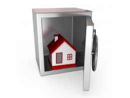 1114 3d House Model In Bank Safe Stock Photo