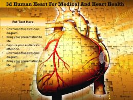 1114 3d Human Heart For Medical And Heart Health Image Graphics For Powerpoint
