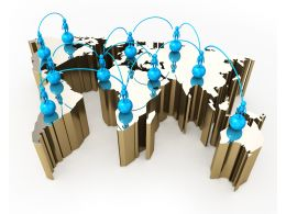 1114 3d Human Icon On World Map For Social Network Stock Photo