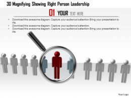 1114 3d Magnifying Showing Right Person Leadership Ppt Graphics Icons