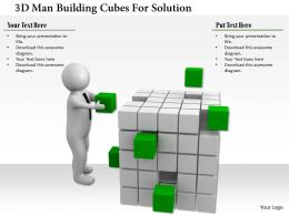 1114 3d Man Building Cubes For Solution Ppt Graphics Icons