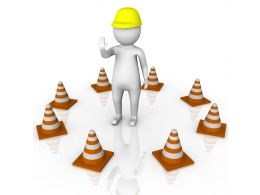 1114 3d Man In Between Circle Of Traffic Cones Stock Photo