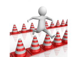 1114 3d Man Jumping On Traffic Cones Stock Photo