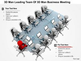 1114 3d Man Leading Team Of 3d Man Business Meeting Ppt Graphics Icons