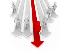 1114 3d Man On Red Arrow With White Arrows Leadership Stock Photo