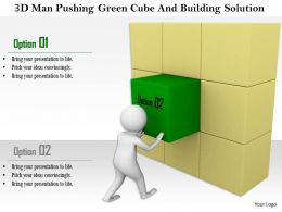 1114 3d Man Pushing Green Cube And Building Solution Ppt Graphics Icons
