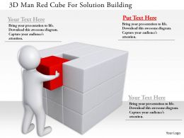 1114 3d Man Red Cube For Solution Building Ppt Graphics Icons