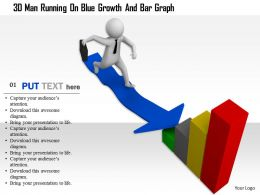 1114 3d Man Running On Blue Growth And Bar Graph Ppt Graphics Icons