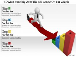 1114 3d Man Running Over The Red Arrow On Bar Graph Ppt Graphics Icons