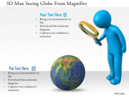 1114 3d Man Seeing Globe From Magnifier Ppt Graphics Icons