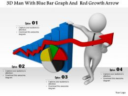 1114 3d Man With Blue Bar Graph And Red Growth Arrow Ppt Graphics Icons