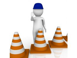 1114 3d Man With Blue Cap And Traffic Cones Stock Photo