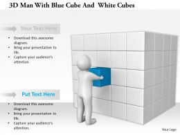 1114 3d Man With Blue Cube And White Cubes Ppt Graphics Icons