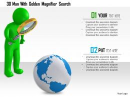 1114 3d Man With Golden Magnifier Search Ppt Graphics Icons