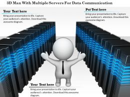 1114 3d Man With Multiple Servers For Data Communication Ppt Graphics Icons