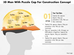 1114 3d Man With Puzzle Cap For Construction Concept Powerpoint Template