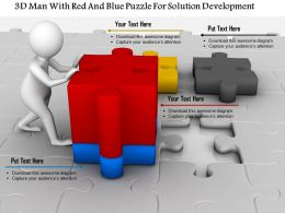 1114 3d Man With Red And Blue Puzzle For Solution Development Ppt Graphics Icons