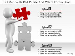 1114 3d Man With Red Puzzle And White For Solution Ppt Graphics Icons
