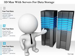 1114 3d Man With Servers For Data Storage Ppt Graphics Icons