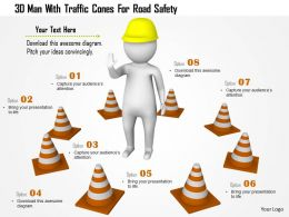 1114 3d Man With Traffic Cones For Raod Safety Ppt Graphics Icons