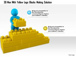 1114 3d Man With Yellow Lego Blocks Making Solution Ppt Graphics Icons