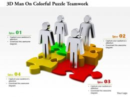 1114 3d Men On Colorful Puzzle Teamwork Ppt Graphics Icons