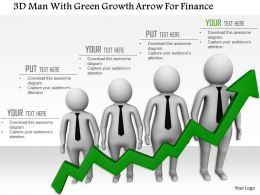 1114 3d Men With Green Growth Arrow For Finance Ppt Graphics Icons