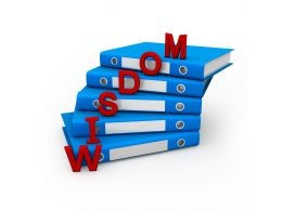 1114 3d Office Folders With Word Wisdom Stock Photo