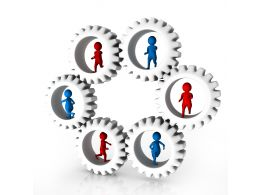1114 3d Peoples Inside The Gears For Teamwork Stock Photo