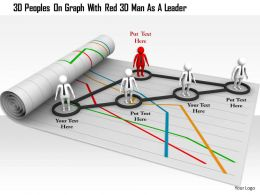 1114 3D Peoples On Graph With Red 3d Man As A Leader Ppt Graphics Icons