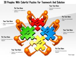 1114 3d Peoples With Colorful Puzzles For Teamwork And Solution Ppt Graphics Icons