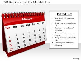1114 3d Red Calendar For Monthly Use Image Graphics For Powerpoint