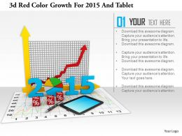 1114 3d Red Color Growth For 2015 And Tablet Image Graphic For Powerpoint