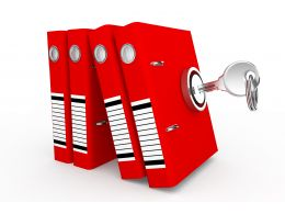 1114 3d Red Folders With Lock Stock Photo