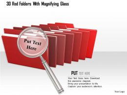 1114 3d Red Folders With Magnifying Glass Image Graphics For Powerpoint
