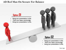 1114 3d Red Man On Seesaw For Balance Ppt Graphics Icons