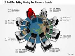 1114 3d Red Men Taking Meeting For Business Growth Ppt Graphics Icons