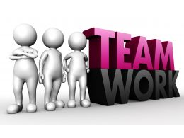 1114 3d Team Standing With Teamwork Text Stock Photo