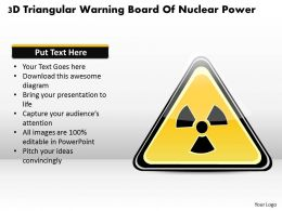 1114 3d Triangular Warning Board Of Nuclear Power Powerpoint Template