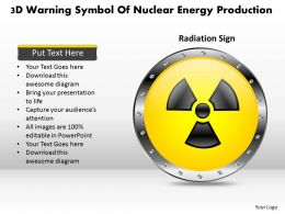 1114 3d Warning Symbol Of Nuclear Energy Production Powerpoint Template