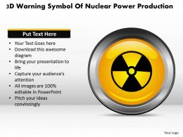 1114 3d Warning Symbol Of Nuclear Power Production Powerpoint Template