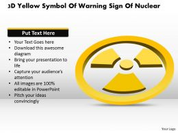 1114 3d Yellow Symbol Of Warning Sign Of Nuclear Powerpoint Template