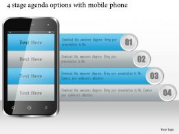 1114 4 Stage Agenda Options With Mobile Phone Ppt Slide