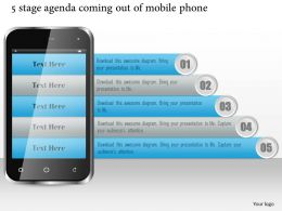1114 5 Stage Agenda Coming Out Of Mobile Phone Ppt Slide