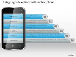 1114 6 Stage Agenda Options With Mobile Phone Ppt Slide